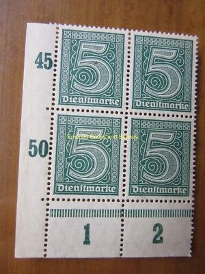 EBS Germany 1920 Official 5 Pfennig Michel Dienst 23 LH2 CORNER BLOCK MNH**