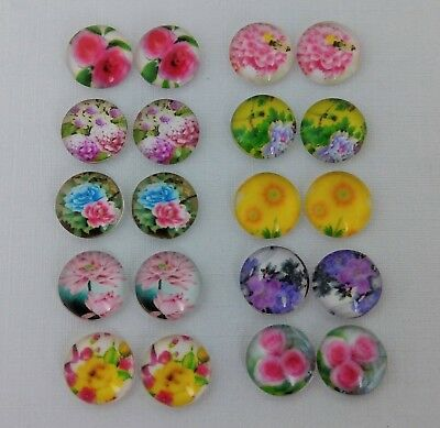 12mm Flower Cabochons Glass Domed - Floral Nature Cabs DIY Earrings  FBC133-1