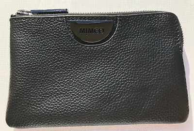 Mimco Echo Black Gunmetal Leather Small Pouch Clutch Wallet Fits iPhone New