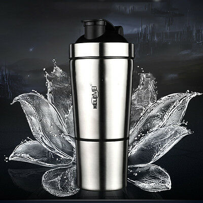 Stainless Steel Water Bottle Sport Gym Fitness Protein Shaker Blender Vacuum Cup