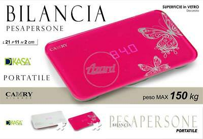 Bilancia Pesapersone Digitale Portatile In Vetro Decorato Cm 21x11x2 Max kg 150