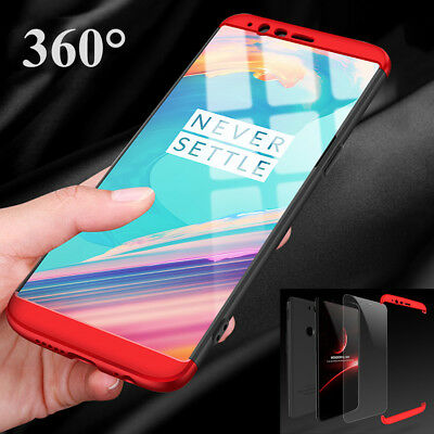 For Oneplus 5T/5 Shockproof Hybrid 360° Full Protection Case Cover +Temper Glass