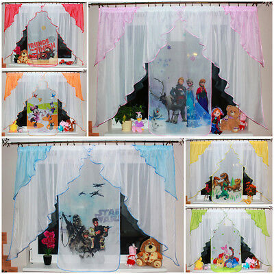 New Childrens Voile Net Curtains Kids Boys Girls Yellow Red Green Blue Purple