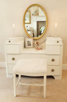 Painted Dressing table and stool Antique Furniture 1930s Art Deco Furniture