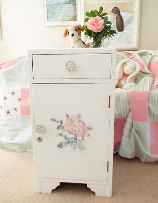 Painted Antique Bedside cabinet 1930's Cream with flowrs design