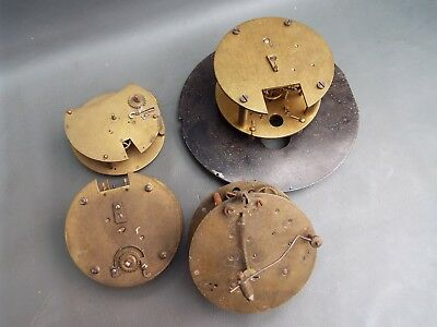 Job lot of 4 vintage clock movements for parts spares steampunk