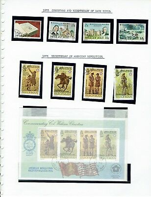 Stamps,IOM ,4 Album sheets of used stamps , please see scans Isle of Man