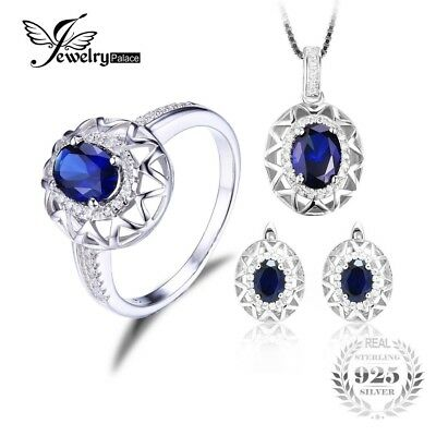 Jewelrypalace Oval 925 Sterling Silver Jewelry Set Blue Created Sapphire Ring