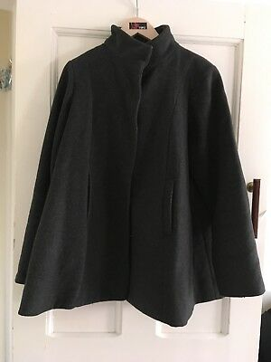 JoJo Maman Bebe Maternity Winter Grey Swing Coat Size 12