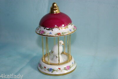 Lovely Vintage Limoges china Birdcage - Maroon/White/Gold w/pink Roses & Flowers