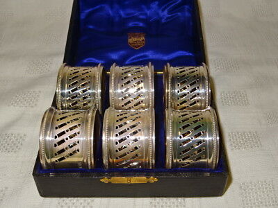 Antique Birmingham 1907 Boxed Set 6 Pierced Sterling Silver Napkin Rings - 100g