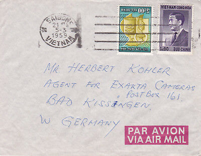 South Vietnam Saigon, mixed franked Airmail to Bad Kissingen Germany, MiF. 1959