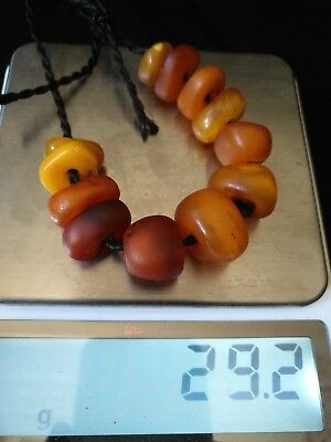 Antique Real Natural Amber - African Trade Beads - Collected Morocco very Old