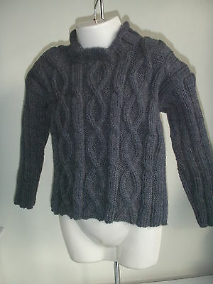 NEW Made in UK Hand Knitted Gray Cable bodied drop ribbed sleeve jumper ~ 1-2 yo