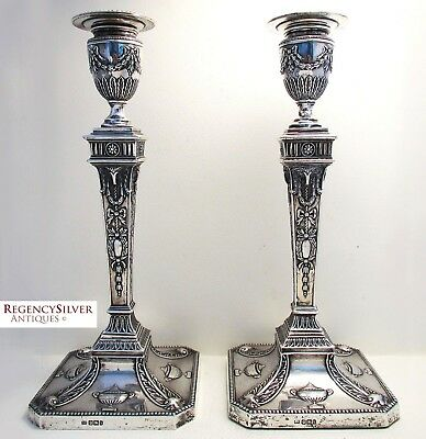 Victorian Antique Adam Style Sterling Silver English Candlesticks Candle holders