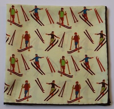 Cream Skiing themed Silk pocket square 30cm. Hand rolled