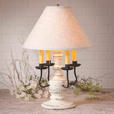 COLONIAL TABLE LAMP & FABRIC SHADE Distressed Vintage White 3 Light Options USA