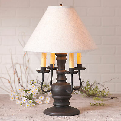 COLONIAL TABLE LAMP & IVORY FABRIC SHADE Distressed BLACK w/ 3 Light Options USA