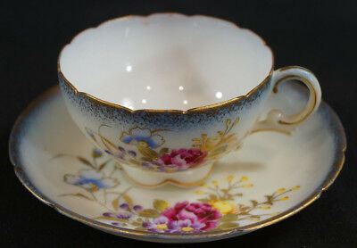 Antique PInk Purple Blue & Yellow Floral Tea Cup & Saucer Marked Diana GY