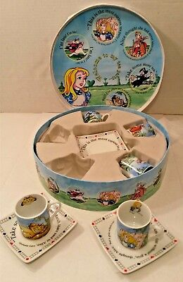 Alice in Wonderland Paul Cardew Mad Hatter Box Tea Party Set Demi Cups Saucers