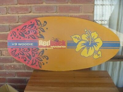 Vintage Wooden Skim Board Redback Surfware + 9 WOODIE- man cave display