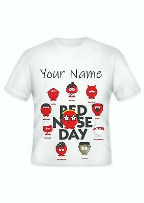 GIRLS BOYS Red Nose Day Comic Relief Personalised Charity T shirt  School Idea!