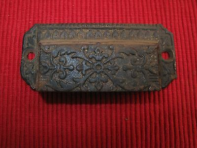 Antique Cast Iron Victorian Drawer Pull Handle Printer Cabinet Ornate 1880's A2