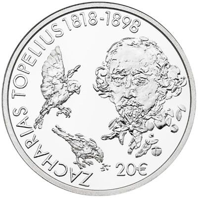 """2018 Finland 20 Euro Silver Proof Coin """"Zacharias Topelius 200 Years"""""""
