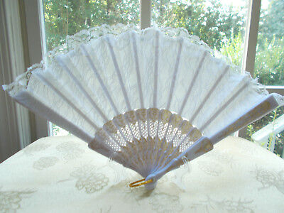 White Lace Fan with Gold Color Accents, Comes With Free Stand For Display