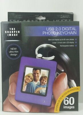 "Sharper Image Ultra Slim 1.5"" Digital Picture Keychain Purple USB 2.0 NEW"