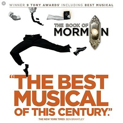 Two 'The Book of Mormon' Tickets - Broadway Show, New York City - March 7, 2018