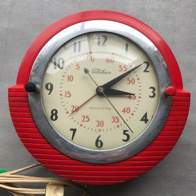 Telechron Minitmaster (Model 2H17) Electric Wall Clock - Red