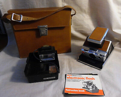 Vintage Polaroid Tan Sx-70 Instant Land Camera With Case & Magicflash