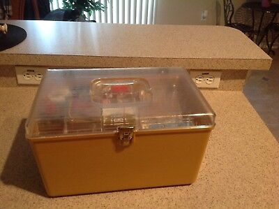 Vintage sewing box with notions – gold with clear top and vintage sewing notions