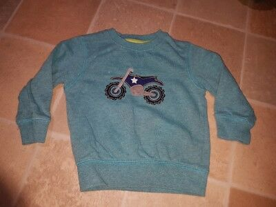 Cute Next Baby Boys Jumper 9-12 Months Green with Motorbike Fab Used Condition