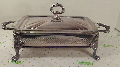 Vintage Silverplate Covered Casserole Server W/Lid and 1 Qt. Fire King Dish USA