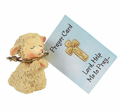 6 Praying Lamb Figurines with Inspirational Prayer Cards Easter