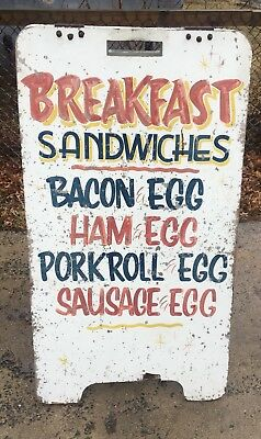 Vintage Hand Painted Wood Sign Breakfast Sandwiches NJ Diner Luncheonette