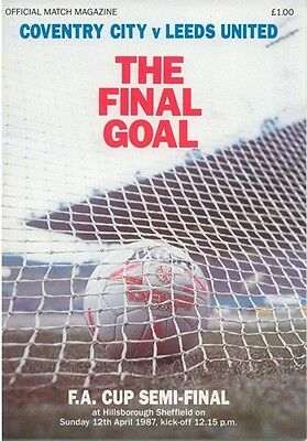 COVENTRY CITY v LEEDS UNITED FA CUP SEMI-FINAL 1987