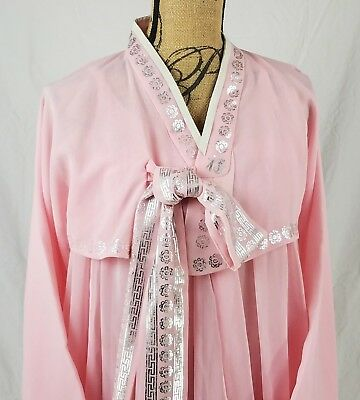 Traditional Korean Hanbok Pink Chiffon Custom Made Dress Costume Wedding Dress