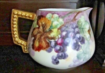 Antique Bavaria Hand Painted Pitcher Signed By Artist M. Grote