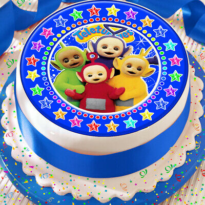 """TELETUBBIES  PERSONALIZED 7.5/"""" CIRCLE EDIBLE ICING CAKE TOPPER PARTY PACK"""