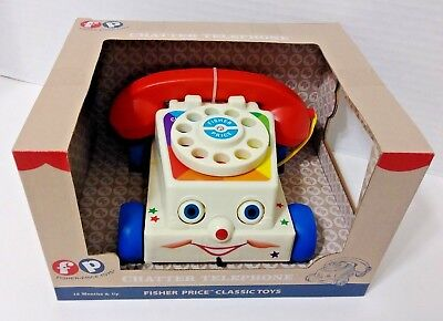 Fisher-Price Mattel Chatter Telephone -Pull-Toy, Eyes Move, Dial & Talking - NIB