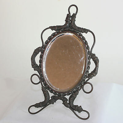 Antique French bronze mirror with easel stand