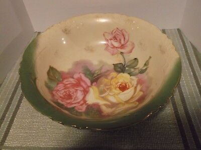 Beautiful Vintage Hand Painted Made In Germany Bowl  Large Roses Gold Trim