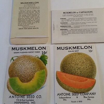2 1950 mint melon seed packets Blue Springss/Indep MO Muskmelon Cantaloupe