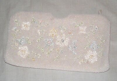 Vintage Delill Beaded Clutch Purse Seed Pearl w/Floral Design Handmade in Japan