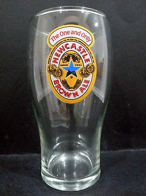 """Newcastle Brown Ale 570ml Beer Glass vgc 6 1/4"""" x 3 1/8"""""""