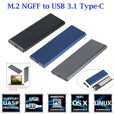 M.2 NGFF SATA SSD 10Gbps to USB 3.1 Type-C Converter Adapter Enclosure Case Box
