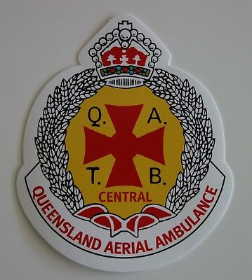 VERY SCARCE / OBSOLETE QLD QATB AMBULANCE STICKER DECAL 104x88mm